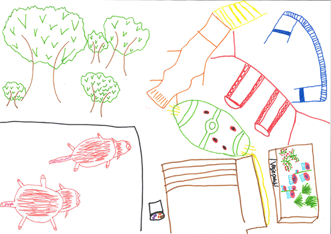 Drawing of school backyard with pigs, trees and a veggie garden.