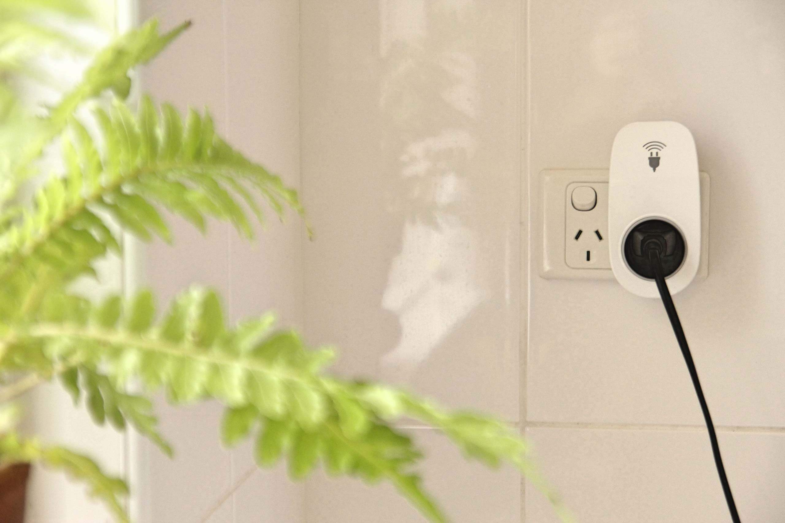 A smart plug sits in a white tiled room, with an appliance plugged into it and a plant in the foreground.