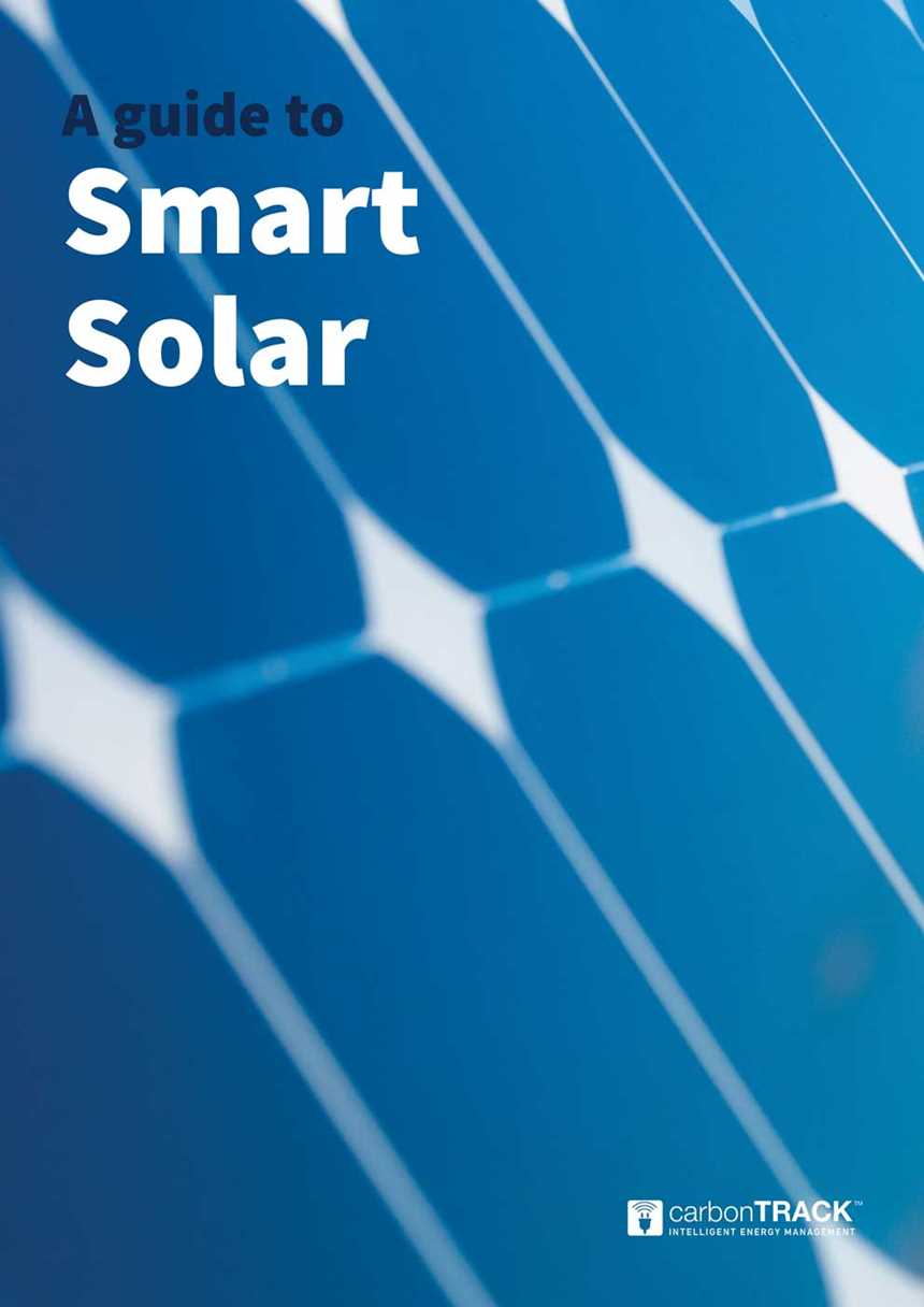 Cover of the smart solar white paper, displaying a closeup of solar panels, with their square pattern repeating into the distance.