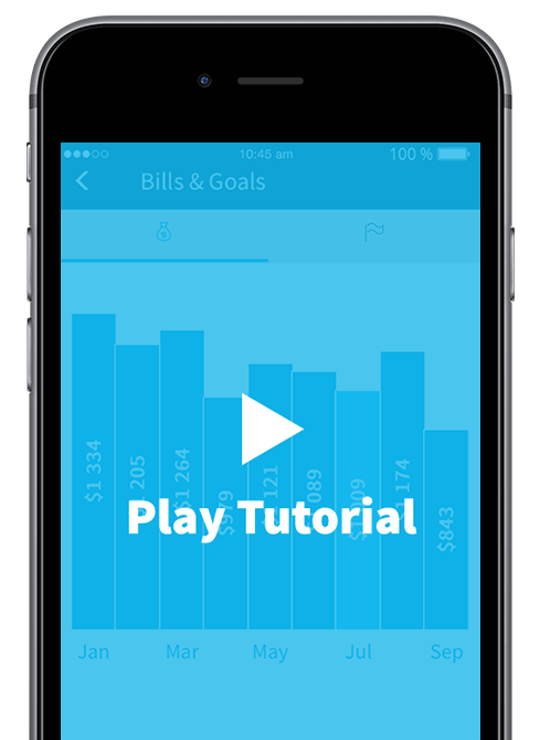 A smart phone showing the bills and goals screen of the carbonTRACK app, with a prompt for you to watch the tutorial.